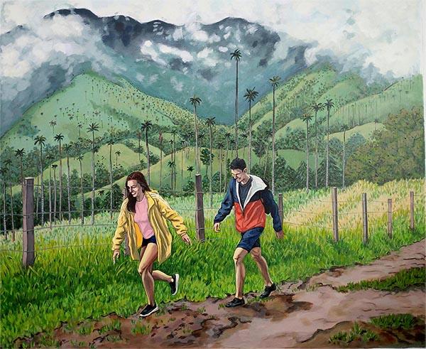 custom acrylic painting of man and woman hiking