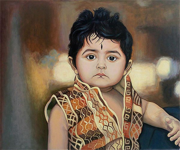 custom acrylic painting of traditional Indian boy