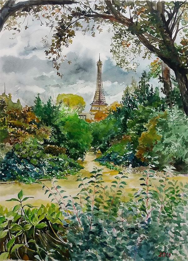 custom watercolor painting of the Eiffel Tower in winter