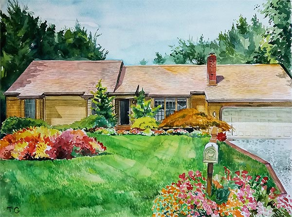 custom watercolor painting of a house with mailbox