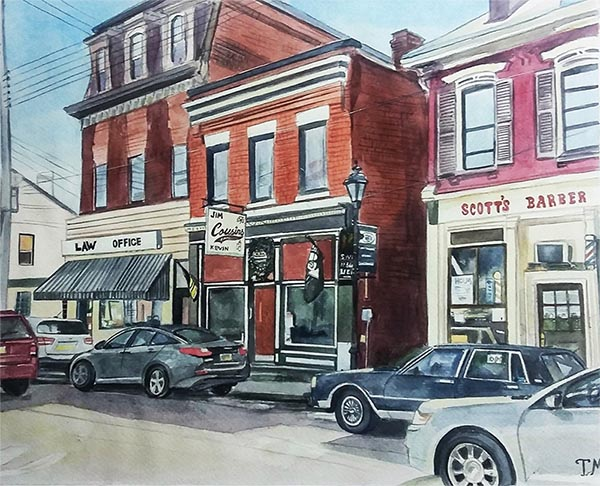 custom watercolor painting of a street with cars