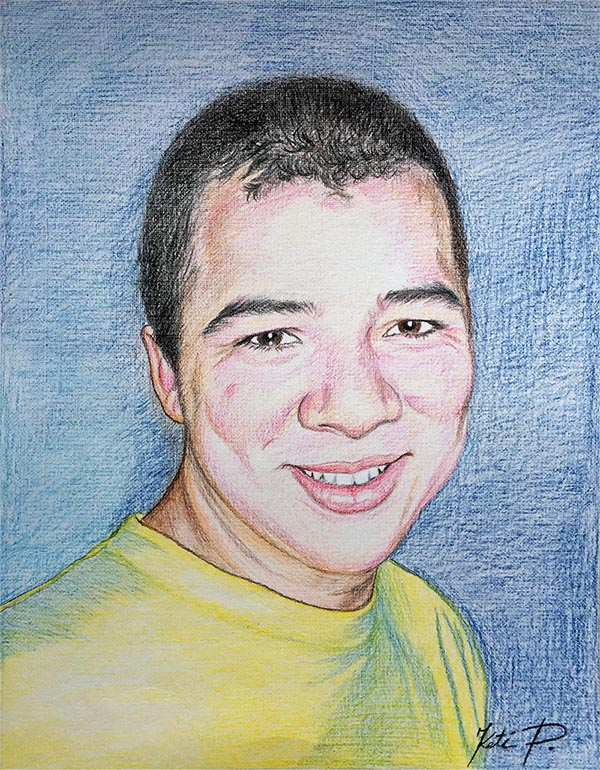 custom colored pencil portrait of man with a yellow shirt