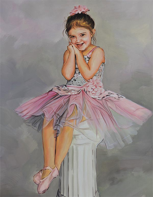 pastel portrait of a little ballerina
