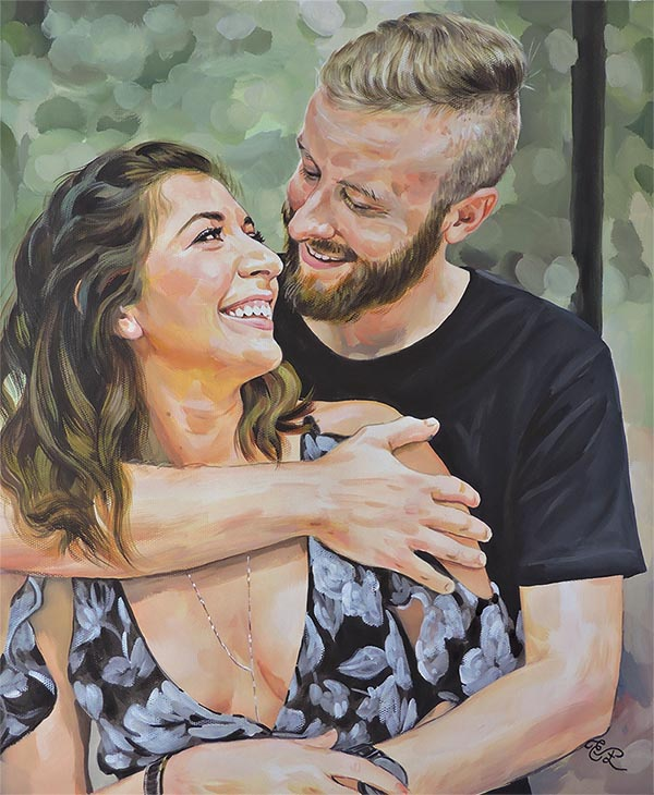 couples photo painted in pastel
