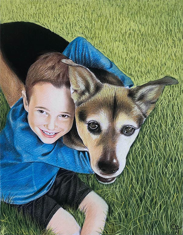 pastel portrait of a dog with boy