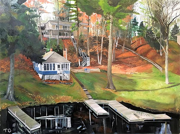 Custom oil handmade painting of a house by the lake