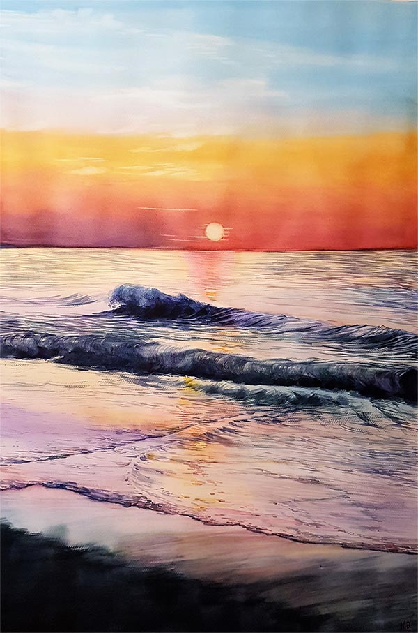 custom watercolor painting of the sunset at the beach