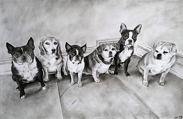 multiple dog painting
