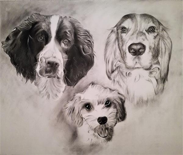 multiple dog drawing