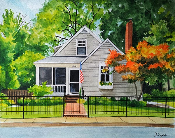 custom watercolor painting of house with American flag
