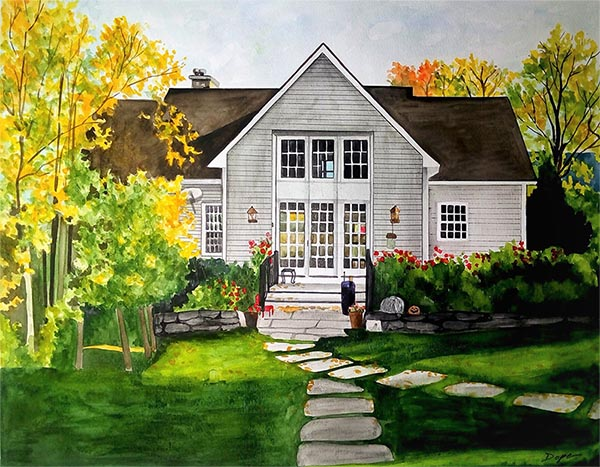custom watercolor painting of a house with Autumn trees