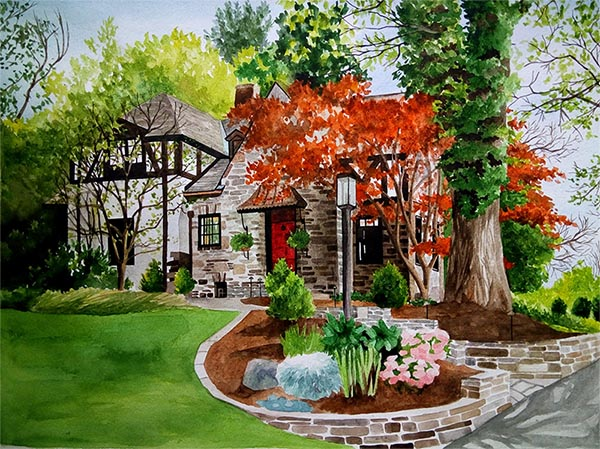 watercolor painting of home with a flowery front yard