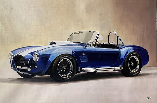 Handmade oil painting of a blue car