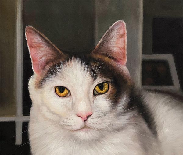 oil painting of a white and brown cat with yellow eyes