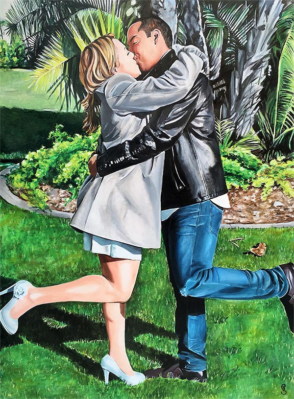 photo to oil painting on canvas of couple kissing by trees
