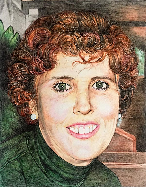 custom colored pencil portrait of redhead with green eyes