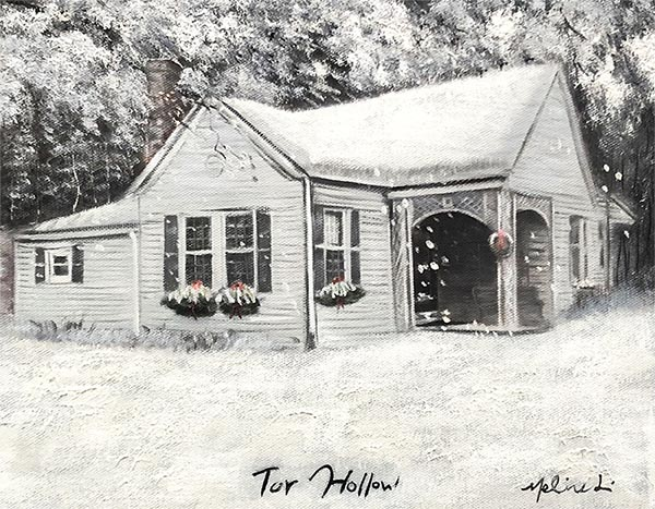 black and white acrylic painting of your folks home
