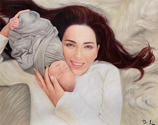 custom acrylic painting of mother with new born baby