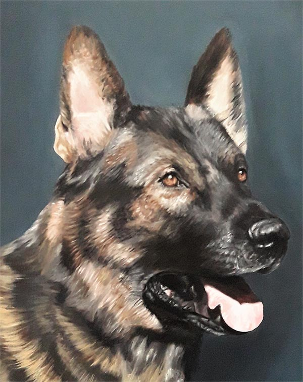a handmade oil painting of a brown german shepherd