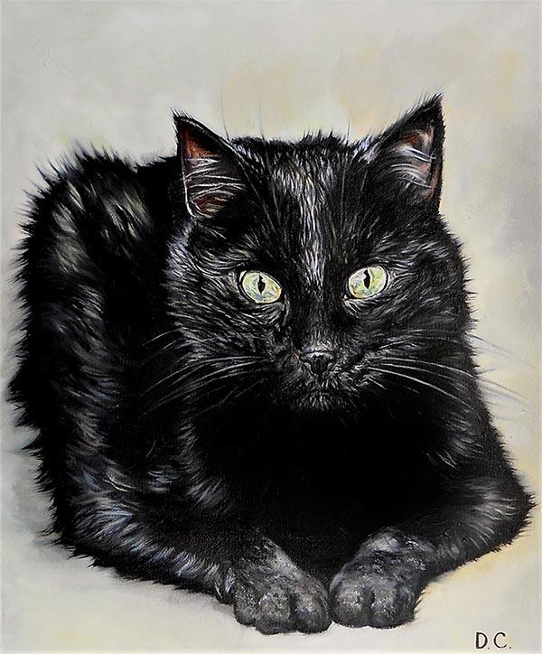 custom oil painting of short haired black cat