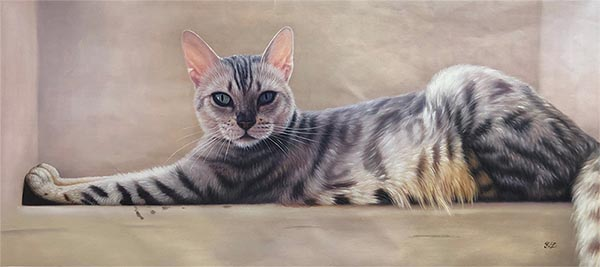 custom oil painting of a grey tiger striped cat
