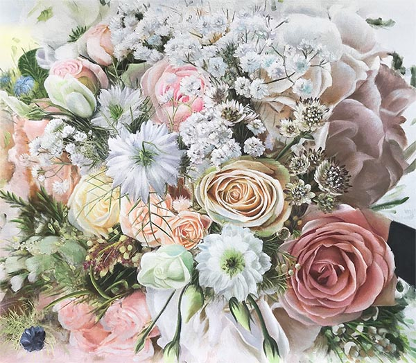custom acrylic painting of bride's best accessory, flowers