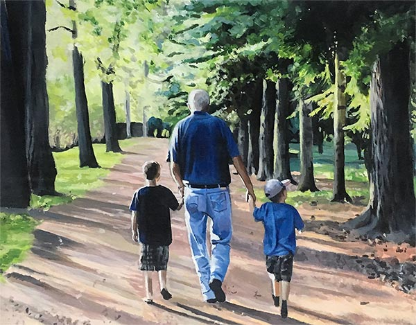 an acrylic painting of a family in the park