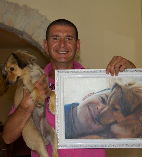 cane con pittura ad olio proprietario