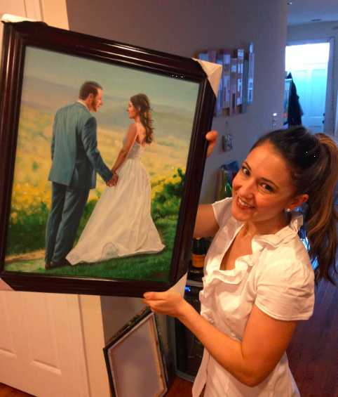 oil painting of wedding couple holding hands