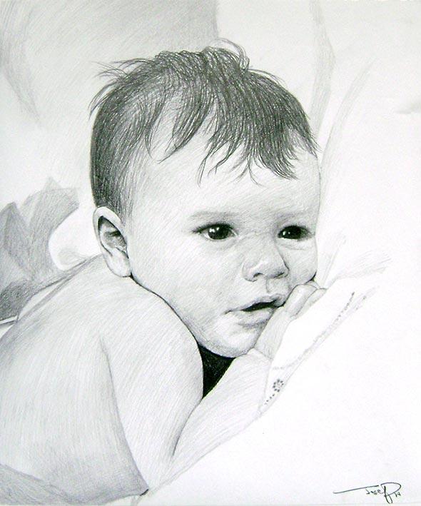 charcoal portrait of a child