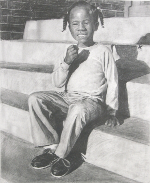 my child as pencil painting
