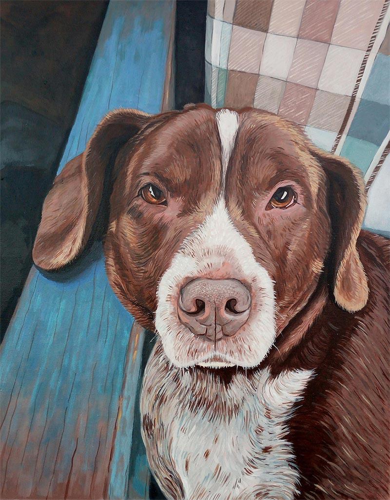 custom dog art in acrylic