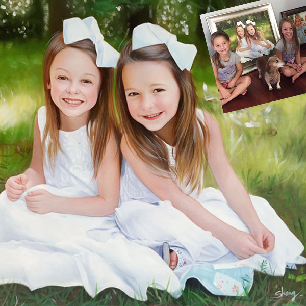 Custom Oil Paintings Of 2 Girls
