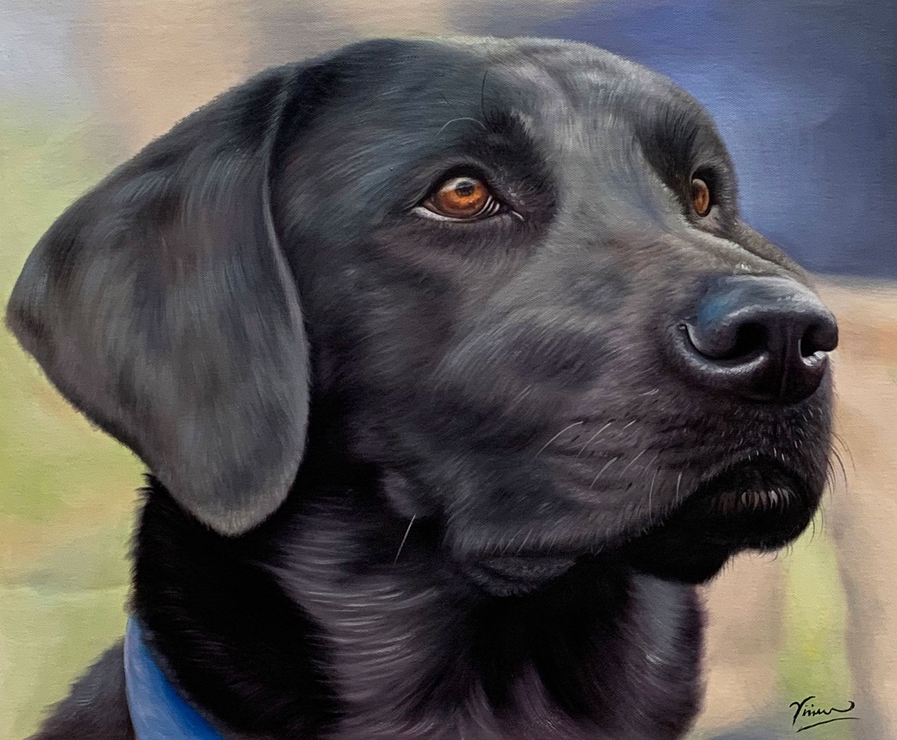 Hand painted portrait from photo of beautiful black lab dog.