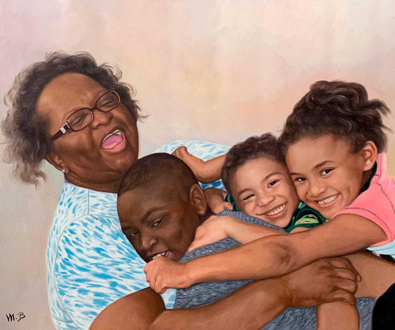 Grandmother hugging her beautiful grandchildren