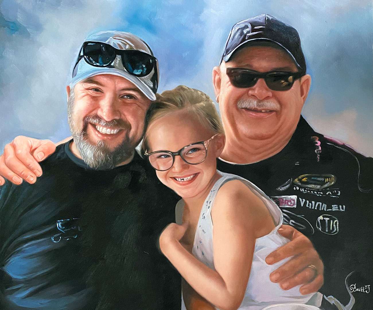 Father, son and granddaughter together in three generation family portrait