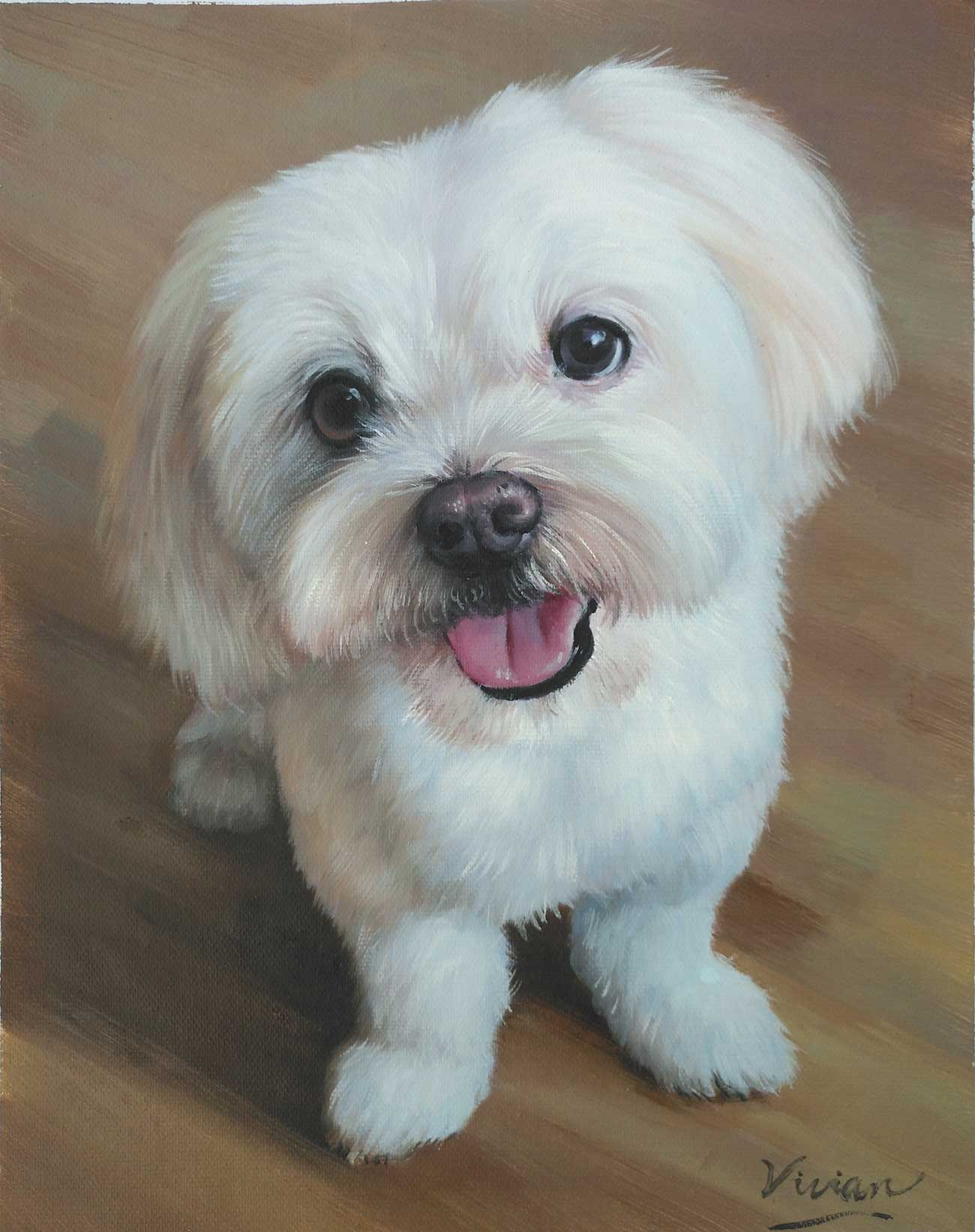 Hand painted portrait from photo of beautiful white, fluffy dog.