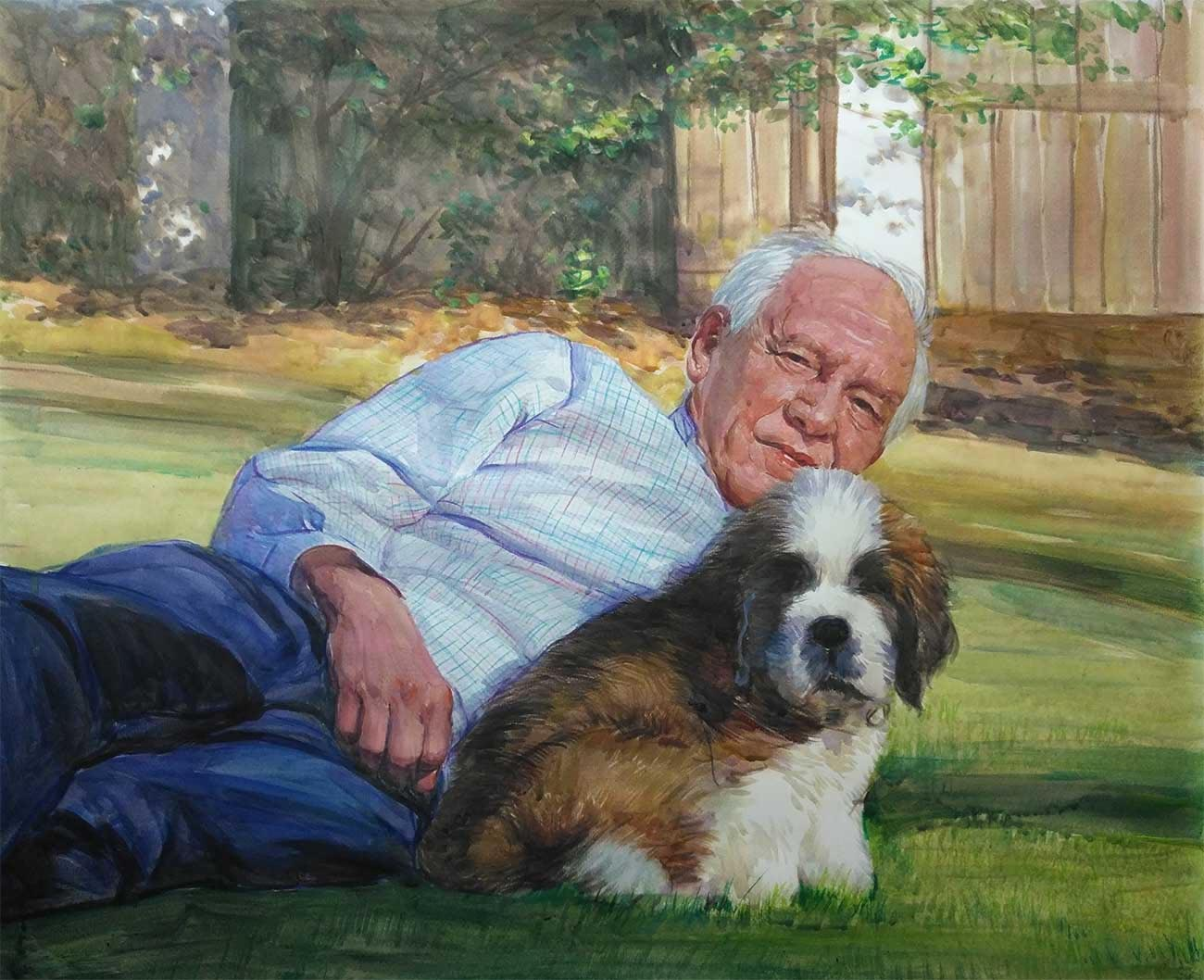 Beautiful hand painted portrait of man and his dog