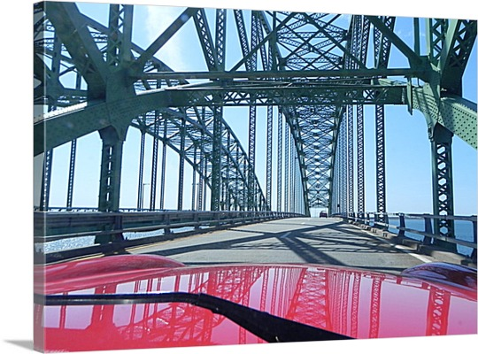 Car Driving Over Bridge on Canvas from Photo