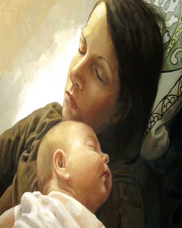 Pastel Painting of Woman with Baby