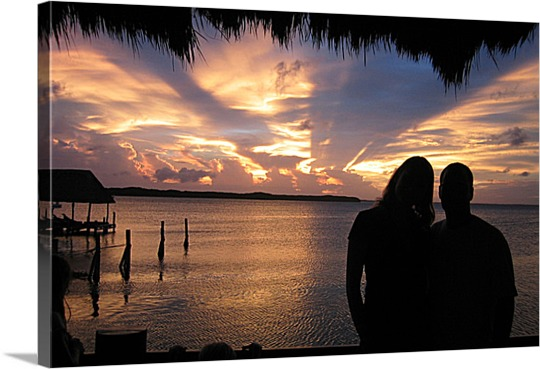 Photo on Canvas of Couple at Sunset