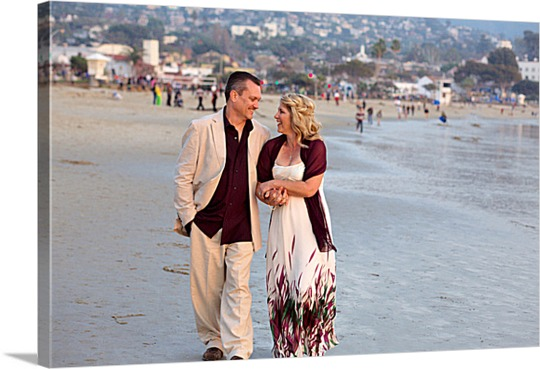 Picture on Canvas of Couple Walking on Beach