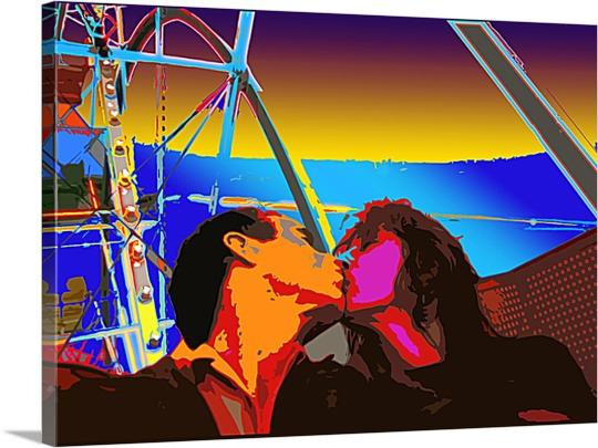 Photo on Canvas of Couple on Ferris Wheel