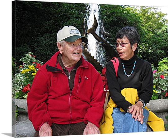 Print on Canvas of Older Couple in Garden