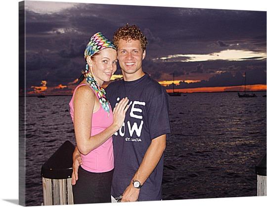 Sunset photo of couple on canvas