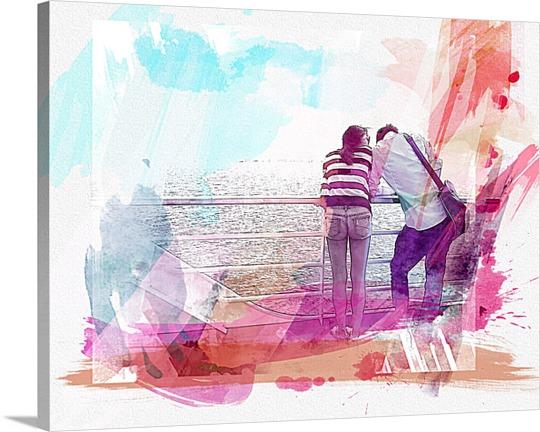 Pop Art of Couple on the Boardwalk