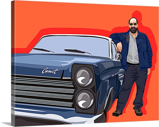 Pop Art Canvas of Man with New Car