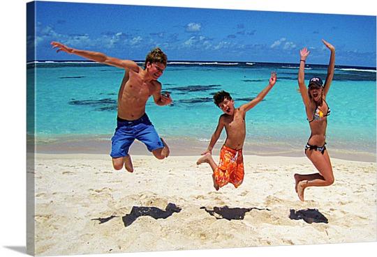 Beach Jumping Friends on Canvas Pop Art