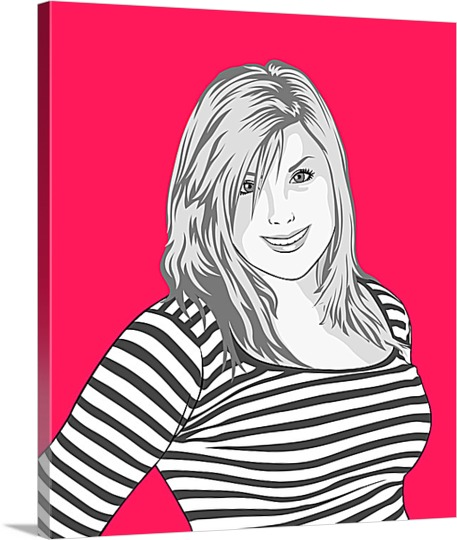 Pop Art Canvas of Woman in Stripped Shirt