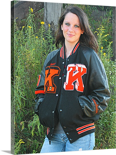 Picture of Girl in Letterman Jacket on Canvas